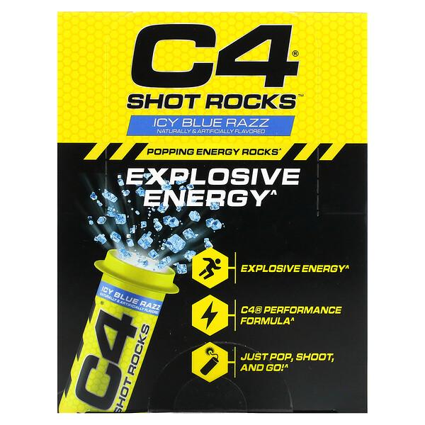 C4 Shot Rocks، أمبولات تعزيز الطاقة، توت العليق الأزرق المثلج، 12 أمبولة، 0.5 أونصة (15 جم) لكل أمبولة