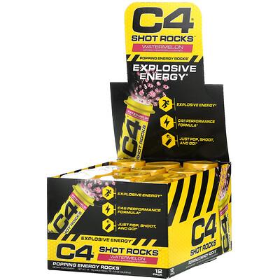 Купить Cellucor C4 Shot Rocks, Watermelon, 12 Vials, 0.5 oz (15 g) Each