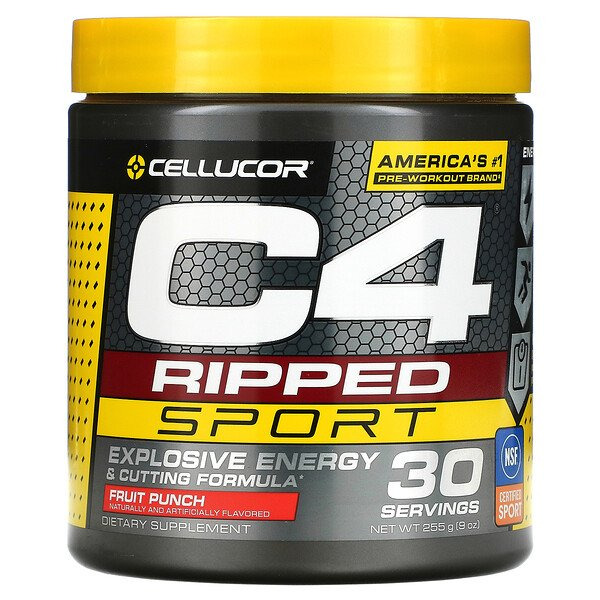 Cellucor, C4 Ripped Sport, Pre-Workout, Fruit Punch, 9 oz (255 g)