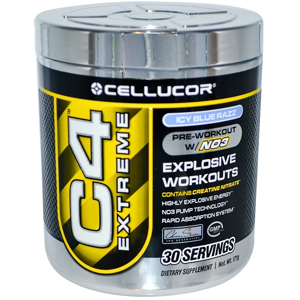 Cellucor, C4 Extreme, Pre-Workout W/NO3, Icy Blue Razz, 171 g (Discontinued Item)