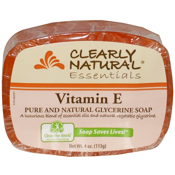 Clearly Natural, Essentials, Pure and Natural Glycerine Soap, Vitamin E, 4 oz (113 g)