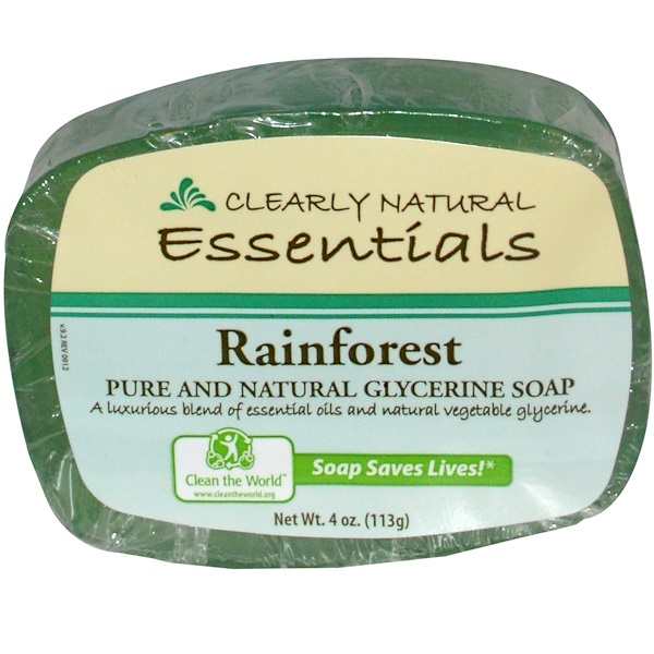 Clearly Natural, Essentials, Pure and Natural Glycerine Soap, Rainforest, 4 oz (113 g) (Discontinued Item)