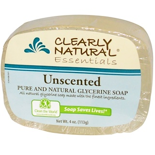 Clearly Natural, Essentials, Jabón de glicerina puro y natural, Sin fragancia, 4 oz (113 g)