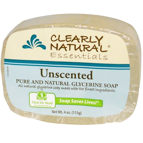 Clearly Natural, Essentials, Pure and Natural Glycerine Soap, Unscented, 4 oz (113 g)