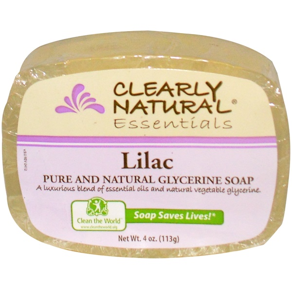 Clearly Natural, Essentials, Pure and Natural Glycerine Soap, Lilac, 4 oz (113 g) (Discontinued Item)