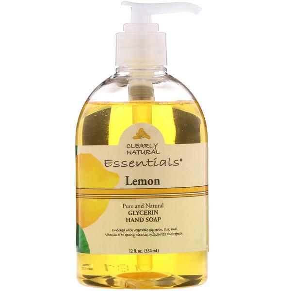 Clearly Natural, Essentials, jabón de glicerina para manos, limón, 354 ml (12 fl oz) (Discontinued Item)