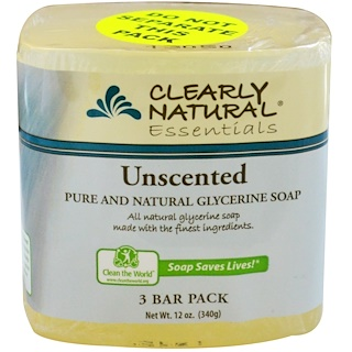 Clearly Natural, Essentials, Pure and Natural Glycerine Soap, Unscented, 3 Bar Pack, 4 oz Each