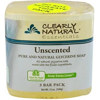 Clearly Natural, Натуральное чистое глицериновое мыло, без запаха, 3 куска в упаковке, 4 унции каждое