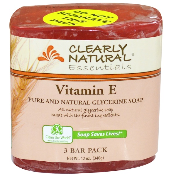Clearly Natural, Jabón de glicerina pura y natural, vitamina E, paquete de 3 barras, 4 oz cada una
