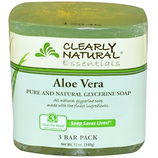 Clearly Natural, Jabón de Glicerina Puro y Natural, Aloe Vera, Pack de 3 Barras, 4 oz Cada una