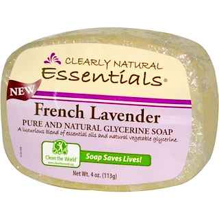 Clearly Natural, Essentials, Pure and Natural Glycerine Soap, French Lavender, 4 oz (113 g)
