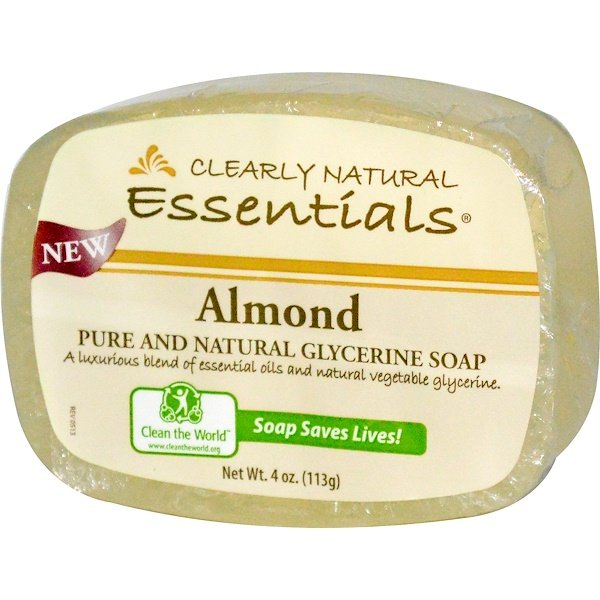 Clearly Natural, Essentials, Pure and Natural Glycerine Soap, Almond, 4 oz (113 g) (Discontinued Item)