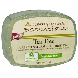 Clearly Natural, Essentials, jabón puro y natural de la glicerina, árbol del té, 4 onzas (113 g)