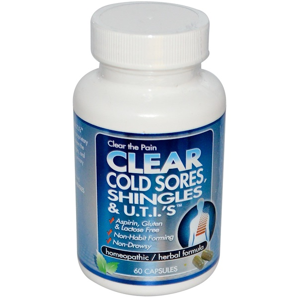Clear Products, Clear Cold Sores, Shingles & U.T.I.'s, 60 Capsules
