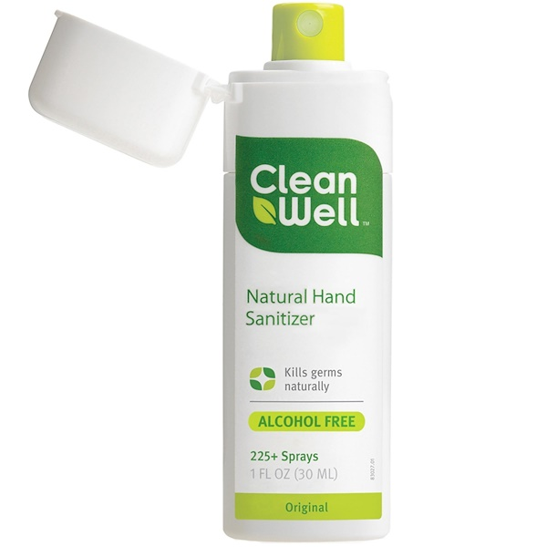 CleanWell, Desinfectante de manos natural, sin alchohol, original, 1 fl oz (30 ml)