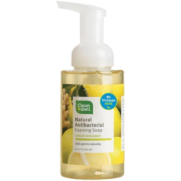 CleanWell, Natural Antibacterial Foaming Soap, Ginger Bergamot, 9.5 fl oz (280 ml) (Discontinued Item)
