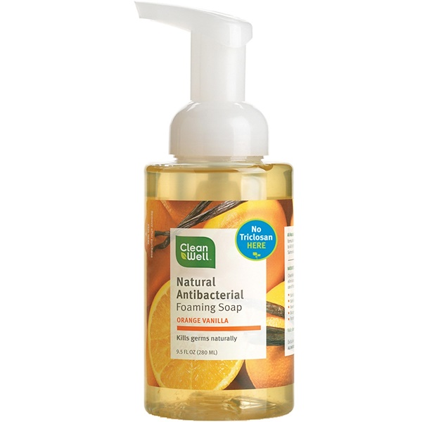 CleanWell, Natural Antibacterial Foaming Soap, Orange Vanilla, 9.5 fl oz (280 ml)
