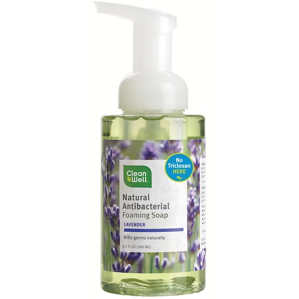 CleanWell, Natural Antibacterial Foaming Soap, Lavender, 9.5 fl oz (280 ml) (Discontinued Item)