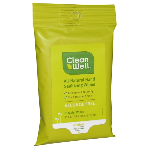 CleanWell, All-Natural Hand Sanitizing Wipes, Alcohol Free, 10 Moist Wipes (Discontinued Item)