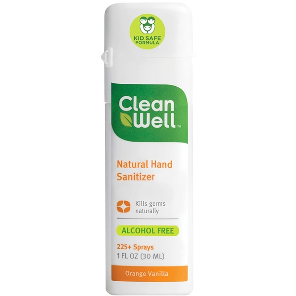 CleanWell, Natural Hand Sanitizer, Sin alcohol, Orange Vanilla, 1 fl oz (30 ml)