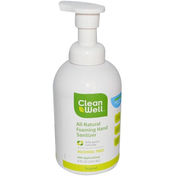 Clean Well, Натуральное пенящееся дезинфицирующее средство для рук, без спирта, 8 жидких унций (240 мл) (Discontinued Item)