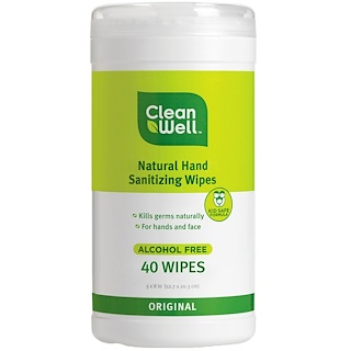 CleanWell, All-Natural Hand Sanitizing Wipes, Alcohol Free, Original, 40 Wipes, 5 x 8 in (12.7 x 20.3 cm) Each