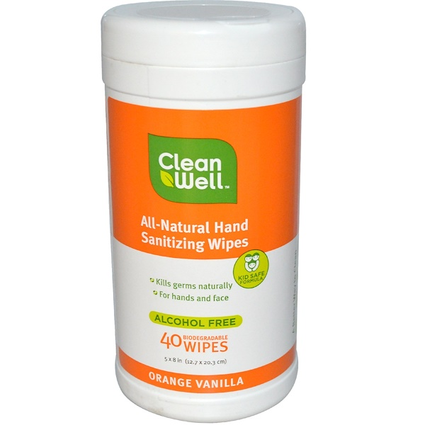 Clean Well, All-Natural Hand Sanitizing Wipes, Orange Vanilla, 40 Wipes, 5 x 8 in (12.7 x 20.3 cm) Each (Discontinued Item)