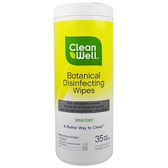 Clean Well, Botanical Disinfecting Wipes, Lemon Scent, 35 Wet Wipes, 7 in x 8 in (117. cm x 20.3 cm)
