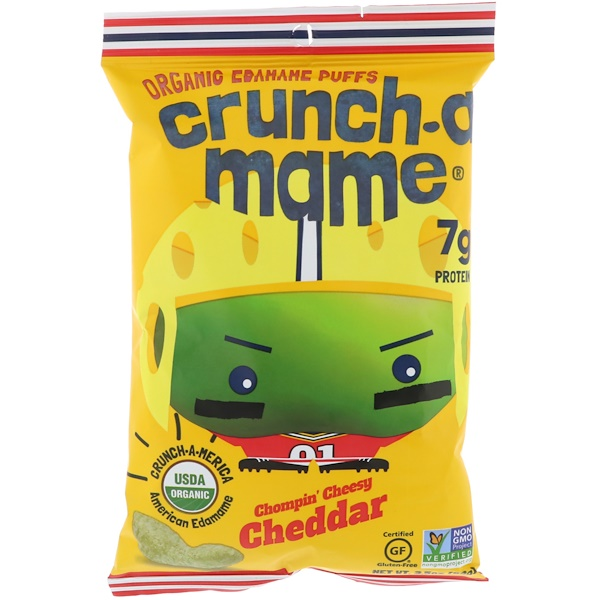 Crunch-A-Mame, Organic Edamame Puffs, Chompin' Cheesy Cheddar, 3.5 oz (99 g) (Discontinued Item)