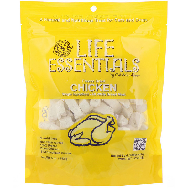Cat-Man-Doo, Cat-Man-Doo, Life Essentials,凍乾雞肉食品,用於貓和狗, 5 oz (142 g)