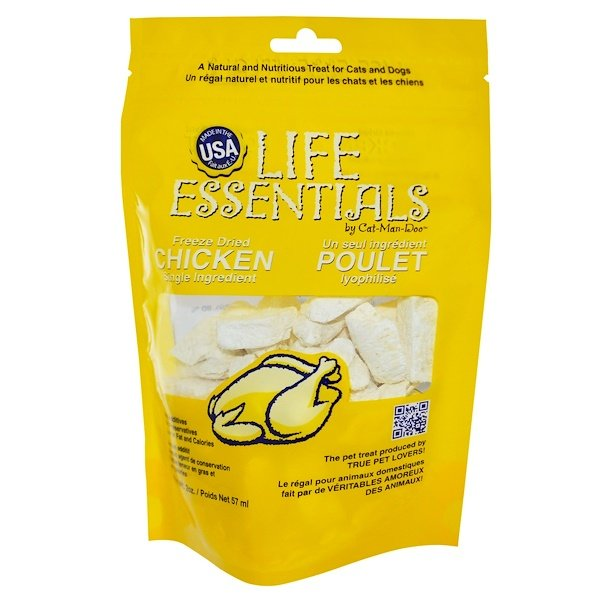 Cat-Man-Doo, Life Essentials, pollo seco congelado para gatos y perros, 57 g (2 oz)