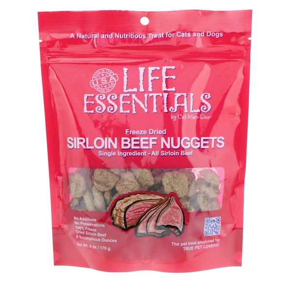 Cat-Man-Doo, Life Essentials, Freeze Dried Sirloin Beef Nuggets, For Cats & Dogs, 6 oz (170 g)