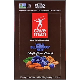 Caveman Foods, Nutrition Bars, Wild Blueberry Nut, 15 Bars, 1.4 oz (40 g) Each