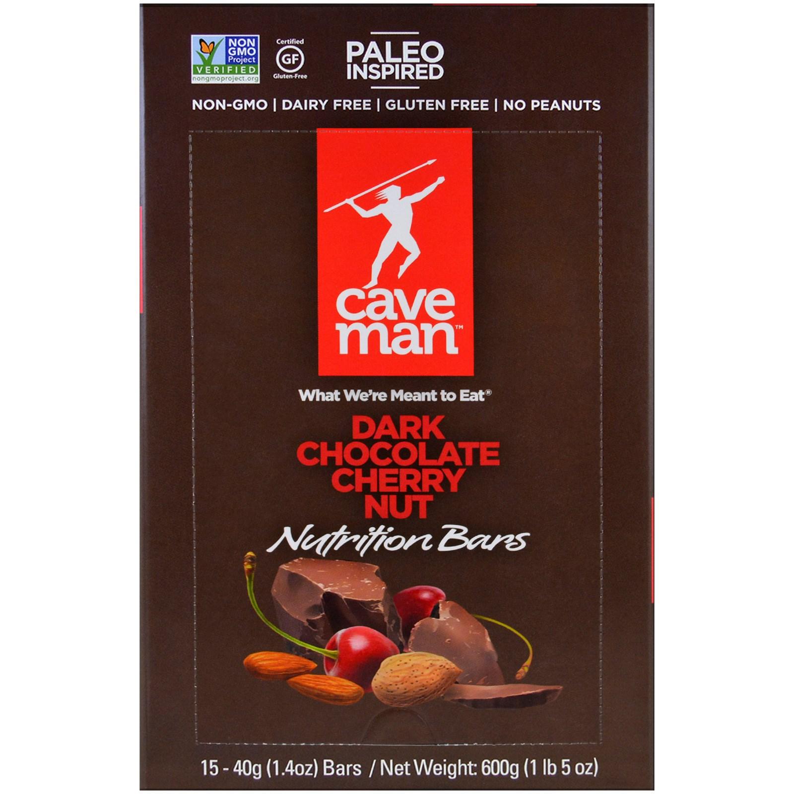 Caveman Foods, Nutrition Bars, Dark Chocolate Cherry Nut, 15 Bars, 1.4 oz (40 g) Each