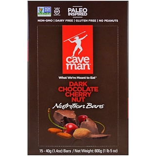 Caveman Foods, Nutrition Bars, Dark Chocolate Cherry Nut, 15 Bars, 1.4 oz (40 g) Each