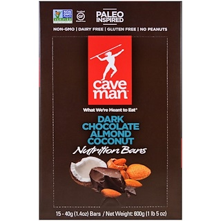 Caveman Foods, Nutrition Bars, Dark Chocolate Almond Coconut, 15 Bars, 1.4 oz (40 g) Each