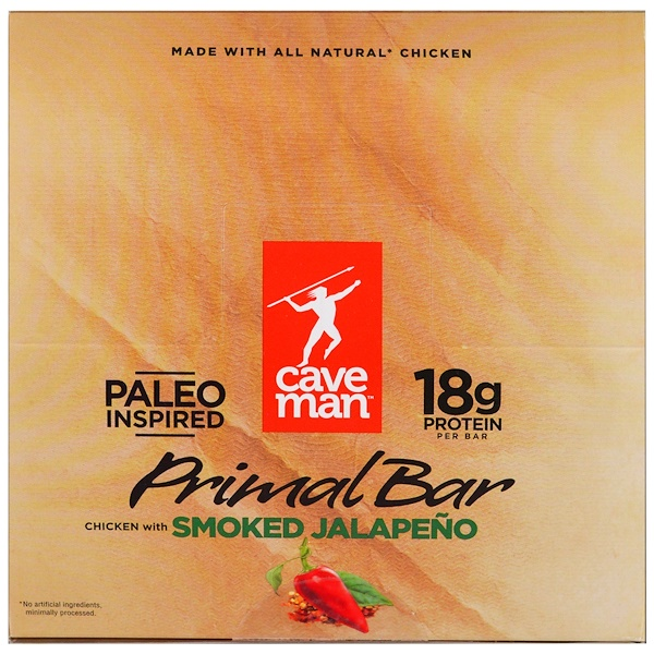 Caveman Foods, Primal Bar, Chicken with Smoked Jalapeno, 12 Bars, 1.5 oz (42 g) Each (Discontinued Item)