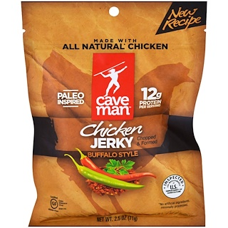 Caveman Foods, Jerky, Buffalo Style Chicken, 2.5 oz (71 g)