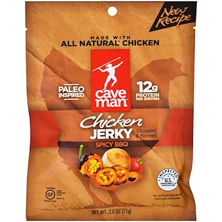 Caveman Foods, Jerky, Spicy BBQ Chicken, 2.5 oz (71 g)