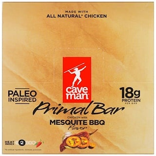 Caveman Foods, Primal Bar, Chicken with Mesquite BBQ Flavor, 12 Bars, 1.5 oz (42 g) Each