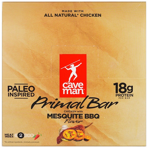 Caveman Foods, Primal Bar, Chicken with Mesquite BBQ Flavor, 12 Bars, 1.5 oz (42 g) Each (Discontinued Item)