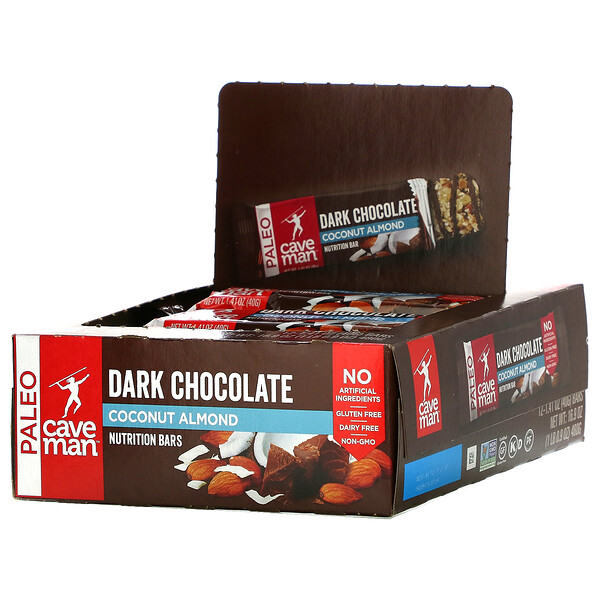 Nutrition Bars, Dark Chocolate Coconut Almond, 12 Bars, 1.41 oz (40 g) Each