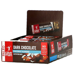 Caveman Foods, Nutrition Bars, Dark Chocolate Coconut Almond, 12 Bars, 1.41 oz (40 g) Each