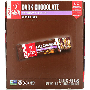 Caveman Foods, Nutrition Bars, Dark Chocolate, Cashew Almond, 12 Bars, 1.41 oz (40 g) Each'