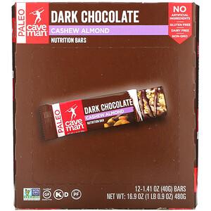 Caveman Foods, Nutrition Bars, Dark Chocolate, Cashew Almond, 12 Bars, 1.41 oz (40 g) Each'