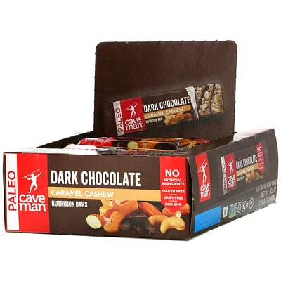 Caveman Foods Nutrition Bars, Dark Chocolate Caramel Cashew, 12 Bars, 1.41 oz (40 g) Each