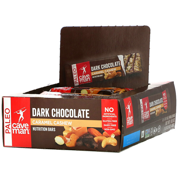 Nutrition Bars, Dark Chocolate Caramel Cashew, 12 Bars, 1.41 oz (40 g) Each
