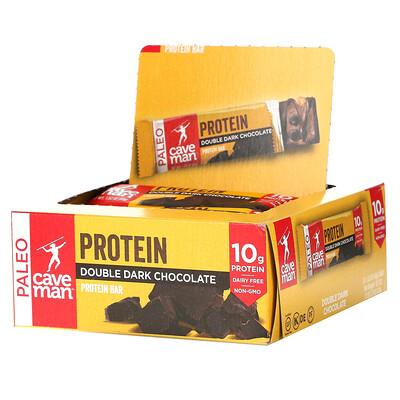 Caveman Foods Protein Bar, Double Dark Chocolate, 12 Bars, 1.52 oz (43 g) Each