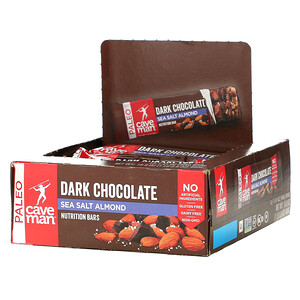 Caveman Foods, Nutrition Bars, Dark Chocolate Sea Salt Almond, 12 Bars, 1.41 oz (40 g) Each