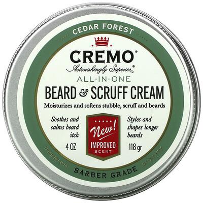 Cremo All-In-One Beard & Scruff Cream, Cedar Forest, 4 oz (118 g)